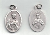 Immaculate Heart and Sacred Heart Silver Oxidized Medal