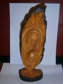 Mary & Jesus Carved Wood Leaf