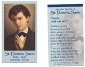 Saint Dominic Savio Prayer Card