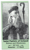 Saint Patrick Of Ireland Prayer Card