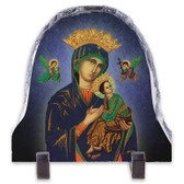 .Our Lady of Perpetual Help Blue arched slate tile .