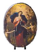 Mary Undoer of Knots Oval Slate Tile