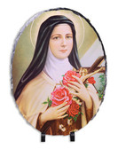 St. Therese of Lisieux Oval Slate Tile