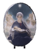 Star of Bethlehem by Bruno Piglhein Oval Slate Tile