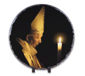 Saint John Paul the Great with Paschal Candle Round Slate Tile