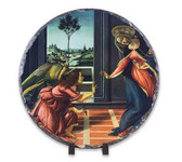 Annunciation by Botticelli Round Slate Tile