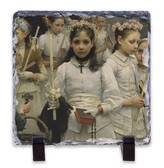 After the First Holy Communion (Detail 1 Girl) Square Slate Tile