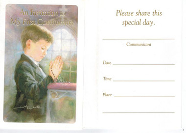 buy First Communion Invitations for Boys 8 per pack with envelopes