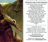 Prayer for Conversion Prayer Card featuring lost sheep and Good Shepherd