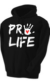 Pro-Life with Handprint Hoodie