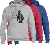 Save the Baby Humans Penguin Vintage Heather Pro-Life Hoodie