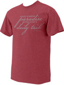 """One Earns Paradise"" St. Gianna Heather Red T-Shirt"