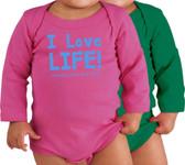 I Love Life! Long-Sleeve Baby Onesie