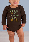 Awesome God Long-Sleeve Brown Baby Onesie