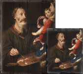 Saint Luke Painting the Virgin by Simone Cantarini Rustic Wood Plaque