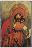 Virgin Eleousa of Kykkos Rustic Wood Russian Icon Plaque