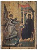 Annunciation Rustic Wood Byzantine Icon Plaque