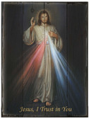 Divine Mercy Rustic Wood Plaque