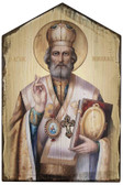 St. Nicholas Rustic Wood Icon Plaque