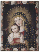 Madonna and Child with Bird Rustic Wood Icon Plaque