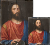 Christ with the Globe by Titian Rustic Wood Plaque