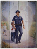 The Protector: Police Guardian Angel Rustic Wood Plaque