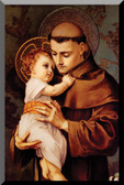 "St. Anthony with Jesus Wall Plaques are printed on 5/8"" thick wood with a glossy finish and beveled black edges."