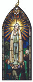Our Lady of Fatima and the Shepherd Children Stained Glass Wood Ornament