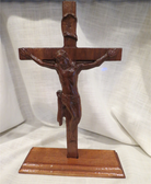 Unique Hand Crafted Solid Walnut Crucifix with Stand