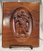 "Unique Hand Crafted 9.50""x12""  Saint Christopher in solid Walnut"