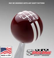 Burgundy / White Rally Stripe Shift Knob