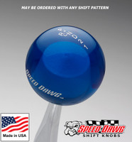 Transparent Blue Shift Knob with Engraved Shift Pattern & Logos
