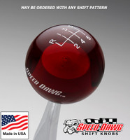 Transparent Red Shift Knob with Engraved Shift Pattern & Logos