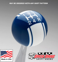 Dark Blue / White Racing Stripe Shift Knob