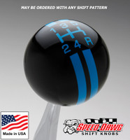 Black / Grabber Blue Rally Stripe Shift Knob