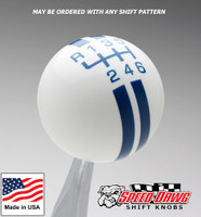 White / Dark Blue Rally Stripe Shift Knob