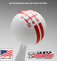 White / Orange Rally Stripe Shift Knob