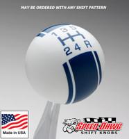White / Dark Blue Racing Stripe Shift Knob