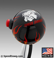 Black Flame Shift Knob with Line Lock / Nitrous Switch & Speed Dawg logo