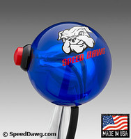Transparent Blue Shift Knob with 12V Line Lock / Nitrous Switch & Speed Dawg Logo