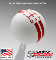 White / Red Rally Stripe Shift Knob