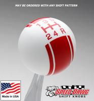 White / Red Racing Stripe Shift Knob