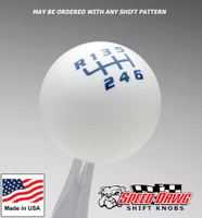 White / Blue Competition Shift Pattern Shift Knob