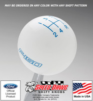 White F150 Logo Shift Knob with Grabber Blue Graphics