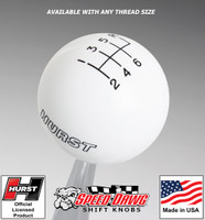 Hurst White w Black 6 Speed Shift Knob - Large