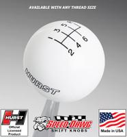 Hurst White w Black 6 Speed Shift Knob - Large