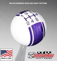 White / Purple Pearl Racing Stripe Shift Knob