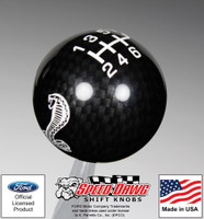 Mustang Cobra Black Carbon Fiber Finish Shift Knob w White 6 Speed Pattern