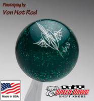 Transparent Green Metalflake Pinstriped Spider Web Shift Knob by Von Hot Rod