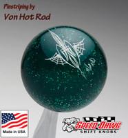 Transparent Green Metalflake Pinstriped Spider Web Shift Knob by Von Hot Rod